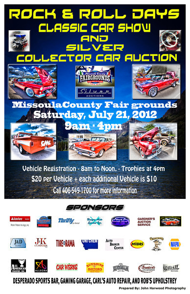 Upcoming Car Show - July 21, 2012. Poster produced by John Harwood Photography. Call or Email for pricing.