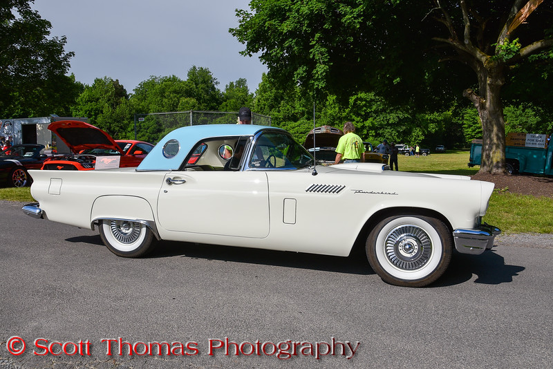 All Ford Cruise In and Swap Meet at Longbranch Park near Liverpool, New York on Sunday, June 10, 2018. 1957 Ford Thunderbird.