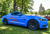 Genie, the Grabber Blue Ford Mustang Ecoboost Premiumm with Performance Package showing at the All Ford Cruise In and Swap Meet in Longbranch Park near Liverpool, New York on Sunday, June 10, 2018.