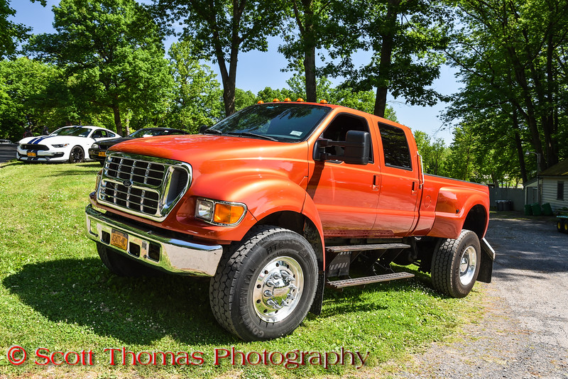 Ford F-650 International Truck All Ford Cruise In and Swap Meet at Longbranch Park near Liverpool, New York on Sunday, June 10, 2018.