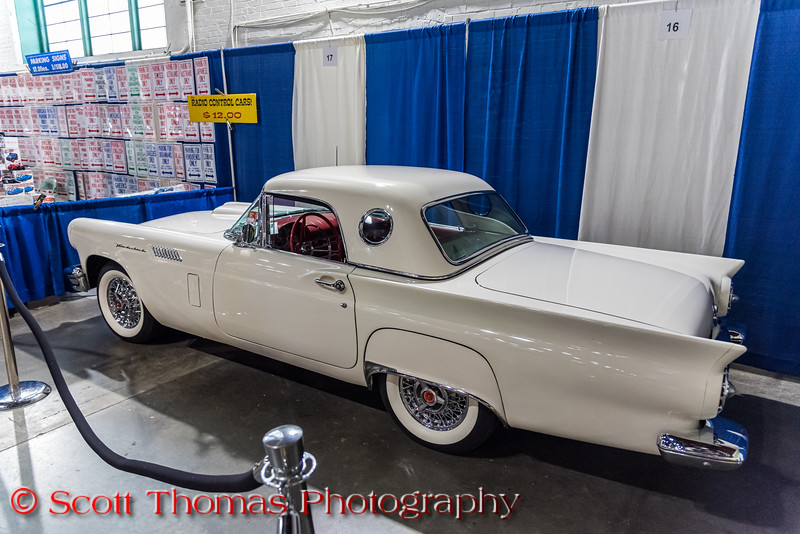 A 1956 Ford T-Bird like the one in the movie, American Graffiti, insde the Center of Progress building of the Syracuse Nationals at the New York State Fairgrounds in Syracuse, New York on Saturday, July 20, 2019.