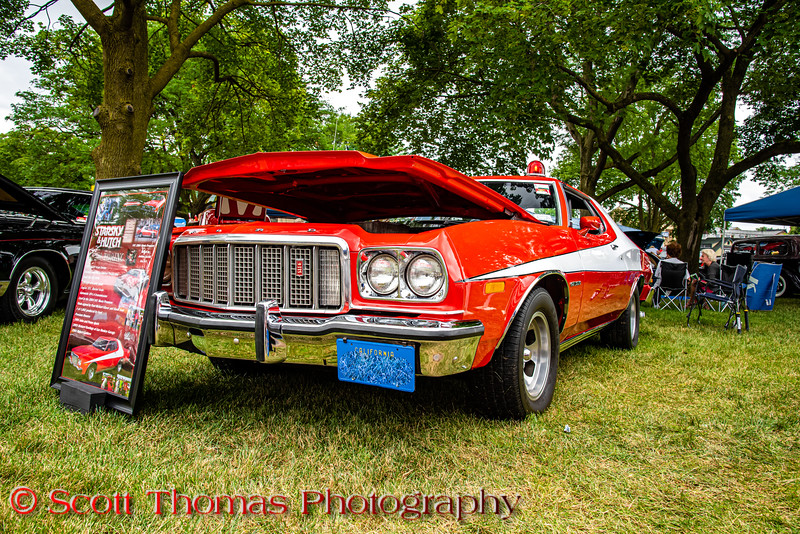 """1976 Ford """"Starsky & Hutch"""" Gran Torino in the Syracuse Nationals at the New York State Fairgrounds in Syracuse, New York on Saturday, July 20, 2019."""