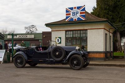 1929 - Bentley 3 Litre Outside the 1922 - BP Petrol Pagoda