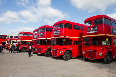 Line of AEC Routemaster Double-decker buses
