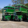 Line-up of Green Double-deck Buses