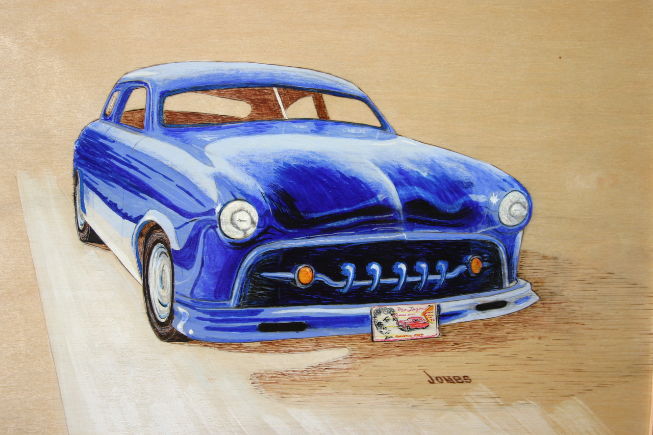 Monty Jones painting of the 50 Ford.
