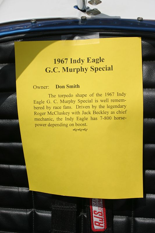 1967 Indy Eagle driven by Roger McCluskey.