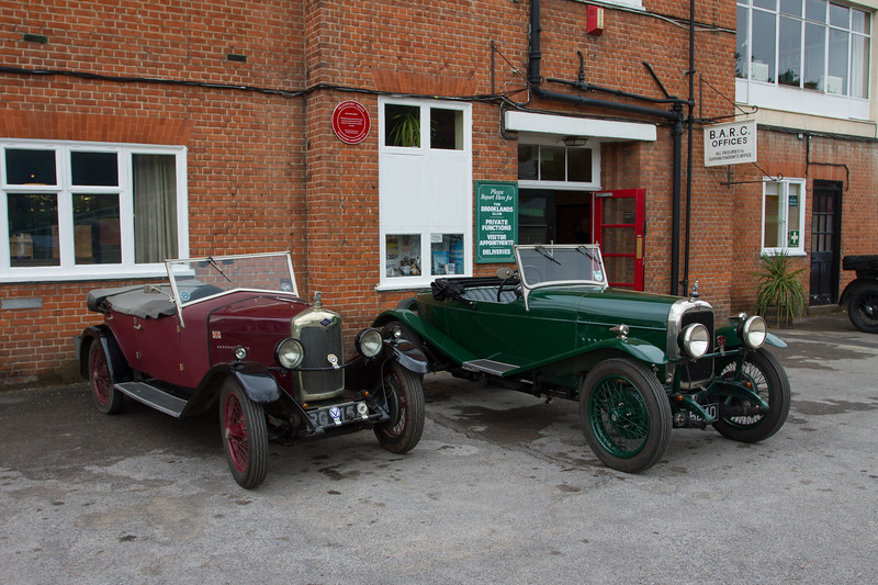 Riley and Alvis Car Outside the Brooklands Clubhouse