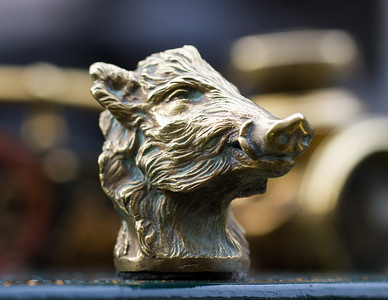 Boars Head Car Mascot by Pierre Dreux