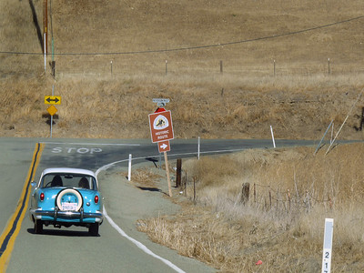 Turning on historic Patterson Pass Road