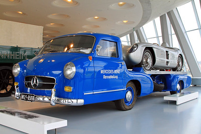 Mercedes-Benz Rennwagen Schnelltransporter, 1955.    The special Mercedes-Benz high speed car transporter for racing cars was a one-of-a-kind specimen built by the Mercedes-Benz testing department. The racing department used the transporter, also called The Blue Wonder, to chauffeur its racing cars in 1955, at speeds up to 106 miles per hour.  As the original no longer exists, the vehicle was completely reconstructed with the help of documents from the archives.