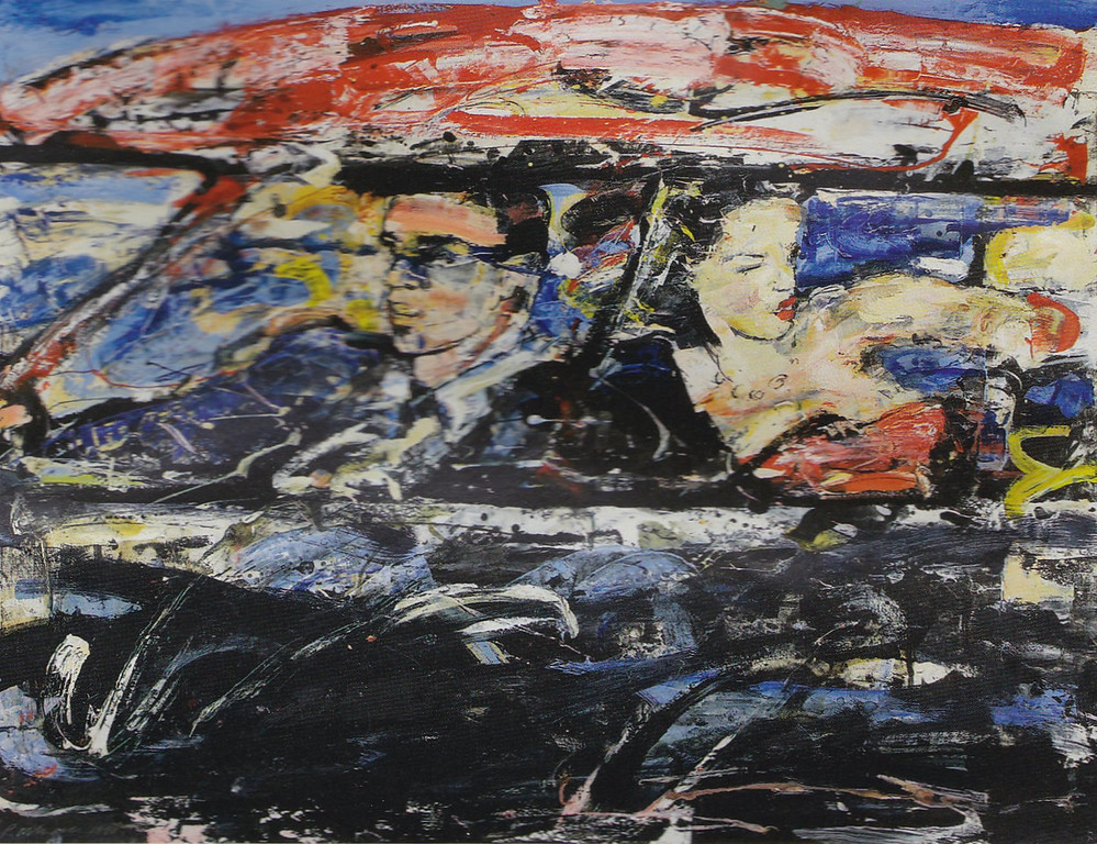 Peter McLaren, Car Couple, Mixed Media on Card. 24 x 30 inches