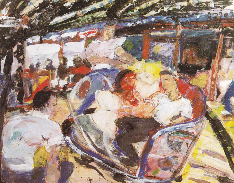 Peter McLaren, Links Market Waltzer, Kirkcaldy. Mixed Media on Paper