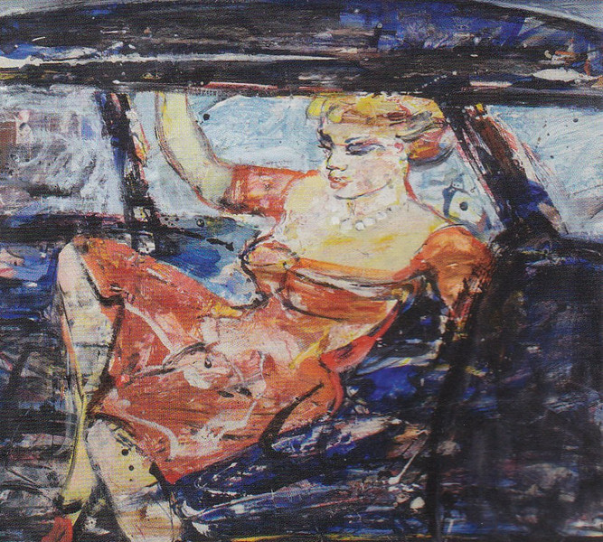Peter McLaren, Sketch for Car Girl, Mixed Media on Card. 31 x 28 inches