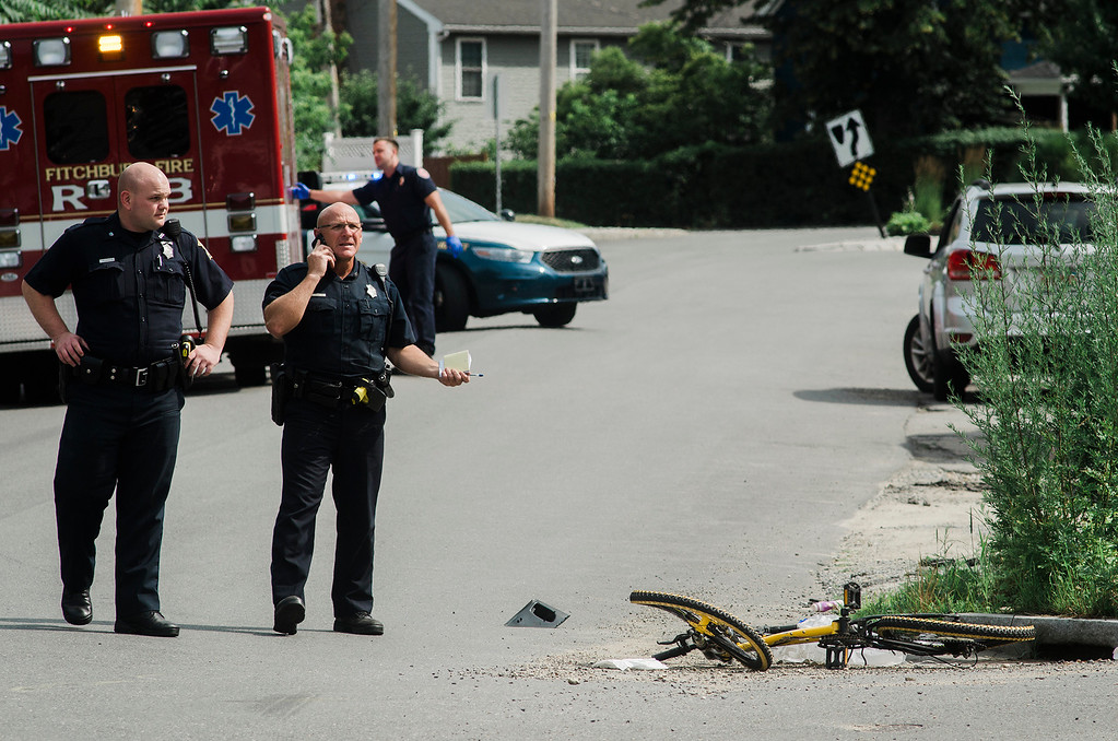 . Fitchburg Police were investigating a car v. bicycle accident at the intersection of St. Bernard\'s Street and Boutelle Street in Fitchburg on Thursday, July 6, 2017. SENTINEL & ENTERPRISE / Ashley Green