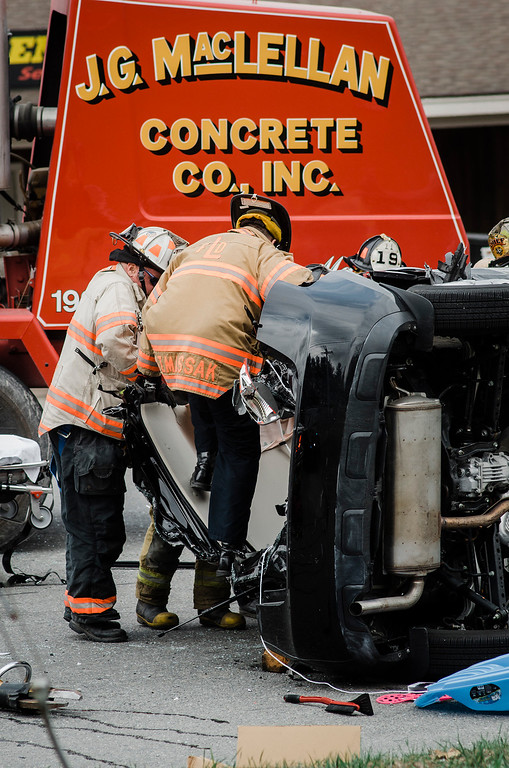 . Firefighters spent over 30 minutes rescuing a woman from her SUV after it was involved in a collision with a cement truck Wednesday afternoon. The 70-year-old woman, according to radio broadcasts, suffered only minor injuries but had to be removed from the SUV with the Jaws of Life. The crash occurred at about 1:50 p.m. at the intersection of Leominster-Shirley and Fort Pond Road in Lunenburg. SENTINEL & ENTERPRISE / Ashley Green
