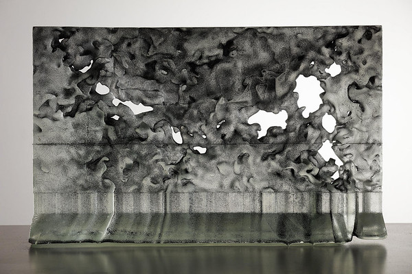 Stratocumulus clouds are in danger of extinction because of changes in the earth's atmosphere. I made this sculpture based on a stratocumulus form modeled by climatologists at CalTech during my residency at Corning's research facility.