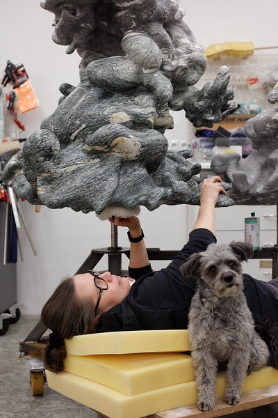 My sculpture Cumulus 1:3, marble, is modeled on real life climatological data. While I work on hand-finishing, my assistant Lucy 🐾 ponders climate change and lunch.