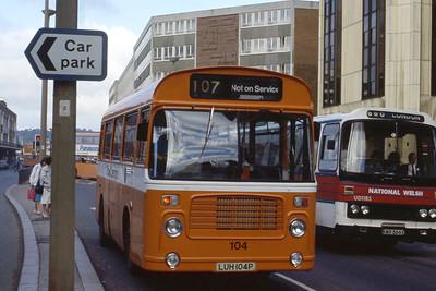 Cardiff Bus 104 Wood St Cardiff Aug 85