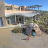 San Elijo Lagoon nature center with view balcony and indigenous reed hut in Cardiff By The Sea, California