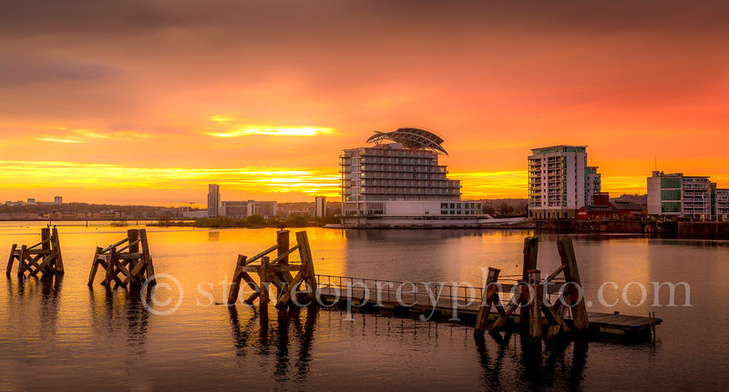 Cardiff Bay Sunset These images can be licensed via www.alamy.com