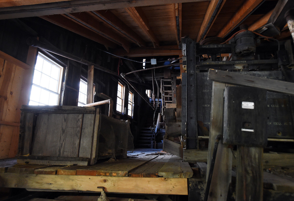 . An interior view of the old metal and wood, with new support beams for the roof at the top. The Cardinal Mill, outside of Nederland, is being historically preserved. Cliff Grassmick  Photographer  May 29,  2018