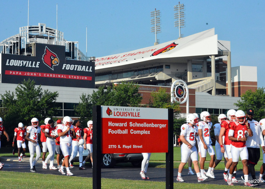 Louisville newcomers head to practice on first day of camp