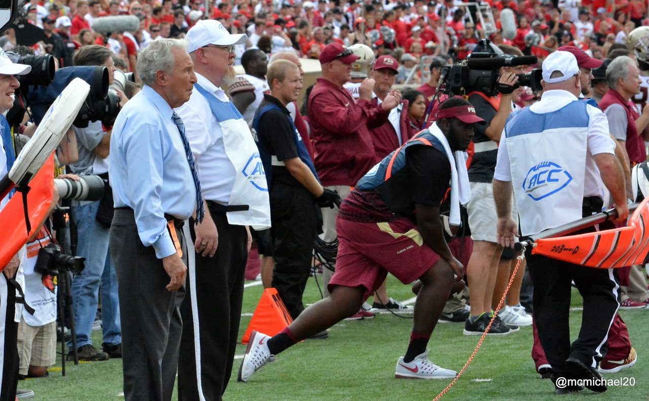 Lee Corso watches from Florida State sideline