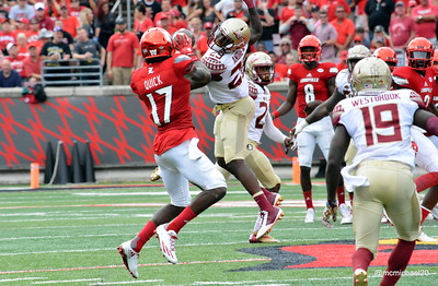 James Quick hauls in a pass from Lamar Jackson
