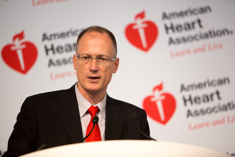 Dallas, TX - AHA 2013 Scientific Sessions - Christopher Cooper, MD, speaks during the : Press Conference: Late Breaking Clinical Trials 4:  here today, Monday November 18, 2013 during the American Heart Associations Scientific Sessions being held here at the Dallas Convention Center. Scientific Sessions is the leading cardiovascular meeting for basic, translational, clinical and population science, in the United States, with more 18,000 cardiovascular experts from more than 105 countries attending the meeting. Photo by © AHA/Scott Morgan 2013 Technical Questions: todd@medmeetingimages.com