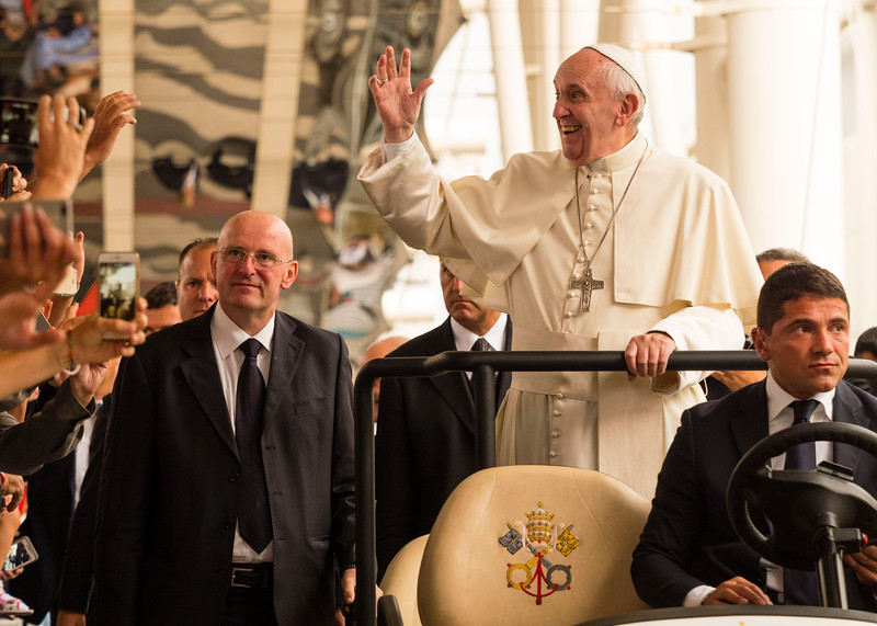 Pope Francis addresses the delegates during a session