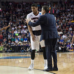 Head Coach Rick Pitino of the Louisville Cardinals gives instructions to Wayne Blackshear (25) before play resumes against the Northern Iowa Panthers during the third round of the 2015 NCAA Men\'s Basketball Tournament at KeyArena on Sunday, March 22, 201