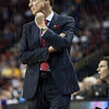Head Coach Rick Pitino of the Louisville Cardinals paces on the sidelines against the Northern Iowa Panthers during the third round of the 2015 NCAA Men's Basketball Tournament at KeyArena on Sunday, March 22, 2015 in Seattle, Wash. Louisville won, 66-53.