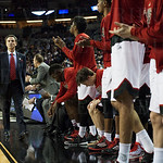 Louisville Cardinals bench cheers during the second half against the Northern Iowa Panthers during the third round of the 2015 NCAA Men\'s Basketball Tournament at KeyArena on Sunday, March 22, 2015 in Seattle, Wash. Louisville won, 66-53.