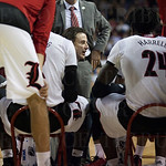 Head Coach Rick Pitino of the Louisville Cardinals talks to his players during a timeout against the Northern Iowa Panthers during the third round of the 2015 NCAA Men\'s Basketball Tournament at KeyArena on Sunday, March 22, 2015 in Seattle, Wash. Louisv