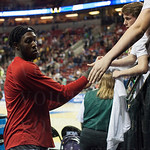 Montrezl Harrell (24) of the Louisville Cardinals autographs a shirt before playing against the Northern Iowa Panthers during the third round of the 2015 NCAA Men\'s Basketball Tournament at KeyArena on Sunday, March 22, 2015 in Seattle, Wash. Louisville