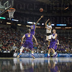 Terry Rozier (0) of  the Louisville Cardinals puts up a shot against the Northern Iowa Panthers during the third round of the 2015 NCAA Men\'s Basketball Tournament at KeyArena on Sunday, March 22, 2015 in Seattle, Wash. Louisville won, 66-53.
