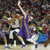 Wayne Blackshear (25) of the Louisville Cardinals is defended my the Northern Iowa Panthers during the third round of the 2015 NCAA Men's Basketball Tournament at KeyArena on Sunday, March 22, 2015 in Seattle, Wash. Louisville won, 66-53.