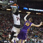 Montrezl Harrell (24) of  the Louisville Cardinals dunks against the Northern Iowa Panthers during the third round of the 2015 NCAA Men\'s Basketball Tournament at KeyArena on Sunday, March 22, 2015 in Seattle, Wash. Louisville won, 66-53.