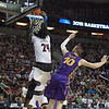 Montrezl Harrell (24) of  the Louisville Cardinals dunks against the Northern Iowa Panthers during the third round of the 2015 NCAA Men's Basketball Tournament at KeyArena on Sunday, March 22, 2015 in Seattle, Wash. Louisville won, 66-53.