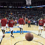 The Louisville Cardinals warm up before their game against the Northern Iowa Panthers during the third round of the 2015 NCAA Men\'s Basketball Tournament at KeyArena on Sunday, March 22, 2015 in Seattle, Wash. Louisville won, 66-53.