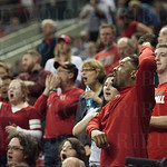 Louisville Cardinals fans cheer during the second half against the Northern Iowa Panthers during the third round of the 2015 NCAA Men\'s Basketball Tournament at KeyArena on Sunday, March 22, 2015 in Seattle, Wash. Louisville won, 66-53.