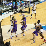 Montrezl Harrell (24) of the Louisville Cardinals looks to make a pass while being guarded by Nate Buss (14) of the Northern Iowa Panthers in the first half during the third round of the 2015 NCAA Men\'s Basketball Tournament at KeyArena on Sunday, March