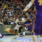 Terry Rozier (0) of the Louisville Cardinals drives toward the basket against the Northern Iowa Panthers during the third round of the 2015 NCAA Men\'s Basketball Tournament at KeyArena on Sunday, March 22, 2015 in Seattle, Wash. Louisville won, 66-53.