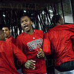 Jaylen Johnson (10) of the Louisville Cardinals and his teammates prepare to walk onto the court for warmups before their game against the Northern Iowa Panthers during the third round of the 2015 NCAA Men\'s Basketball Tournament at KeyArena on Sunday, M
