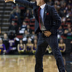 Head Coach Rick Pitino of the Louisville Cardinals gives instructions to his players from the sidelines against the Northern Iowa Panthers during the third round of the 2015 NCAA Men\'s Basketball Tournament at KeyArena on Sunday, March 22, 2015 in Seattl