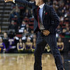 Head Coach Rick Pitino of the Louisville Cardinals gives instructions to his players from the sidelines against the Northern Iowa Panthers during the third round of the 2015 NCAA Men's Basketball Tournament at KeyArena on Sunday, March 22, 2015 in Seattle, Wash. Louisville won, 66-53.