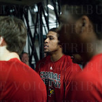 Wayne Blackshear (25) of the Louisville Cardinals and his teammates prepare to walk onto the court for warmups before their game against the Northern Iowa Panthers during the third round of the 2015 NCAA Men\'s Basketball Tournament at KeyArena on Sunday,