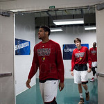 Wayne Blackshear (25) of the Louisville Cardinals walks to the locker room before their game against the Northern Iowa Panthers during the third round of the 2015 NCAA Men\'s Basketball Tournament at KeyArena on Sunday, March 22, 2015 in Seattle, Wash. Lo