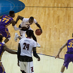 Terry Rozier (0) of the Louisville Cardinals drives to the basket in the first half against the Northern Iowa Panthers during the third round of the 2015 NCAA Men\'s Basketball Tournament at KeyArena on Sunday, March 22, 2015 in Seattle, Wash. Louisville
